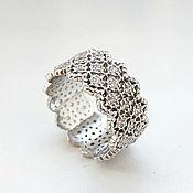 Украшения handmade. Livemaster - original item Openwork lace ring made of 925 sterling silver (K28). Handmade.