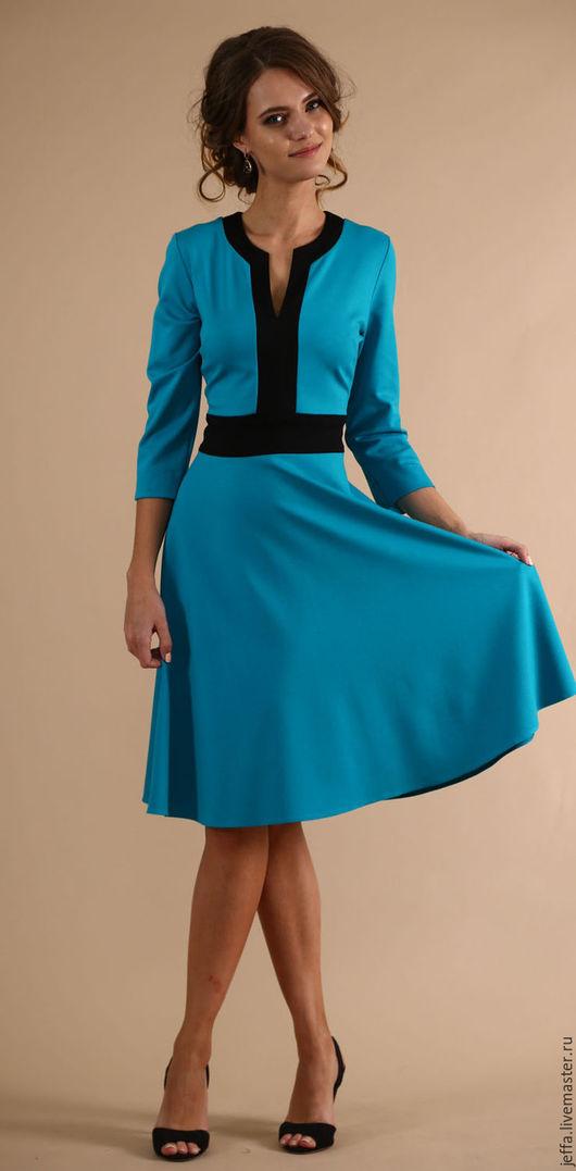 Платья ручной работы. Ярмарка Мастеров - ручная работа. Купить Платье из джерси арт.5403. Handmade. Тёмно-бирюзовый