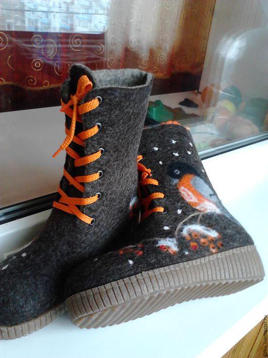 Обувь ручной работы. Ярмарка Мастеров - ручная работа. Купить валяные ботинки. Handmade. Разноцветный, шерсть 100%