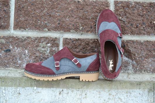 Обувь ручной работы. Ярмарка Мастеров - ручная работа. Купить Монки женские комбинированные. Handmade. Бордовый, ручная работа