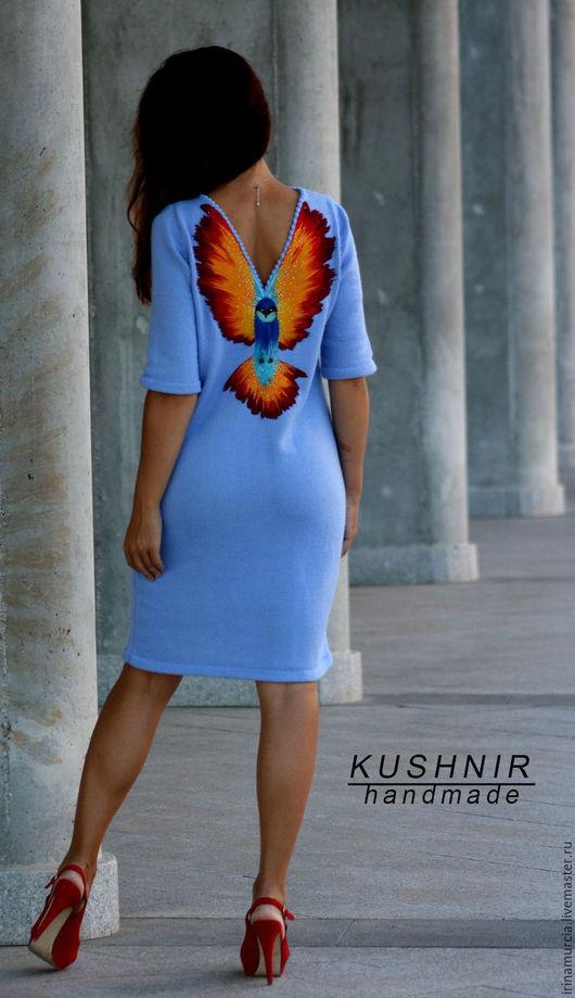 """Платья ручной работы. Ярмарка Мастеров - ручная работа. Купить Платье """" Полёт колибри """". Handmade. Тёмно-синий"""