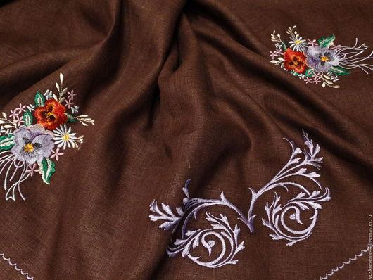 Текстиль, ковры ручной работы. Ярмарка Мастеров - ручная работа. Купить Скатерть льняная  Шоколадница овальная. Handmade. Коричневый