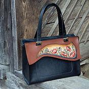 Классическая сумка ручной работы. Ярмарка Мастеров - ручная работа Сумка кожаная женская черная Маки большая повседневная. Handmade.