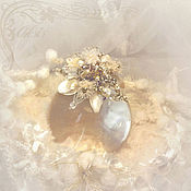 Brooches handmade. Livemaster - original item Small brooch-pendant flower White soft custom pearls, citrine. Handmade.