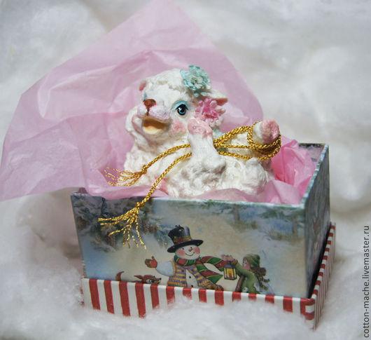 елочные игрушки, елочная игрушка, ватная елочная игрушка, фигурка из ваты, ватная игрушка, новый год, корпоративные подарки.фигурка овечка, овен, овца, рождество