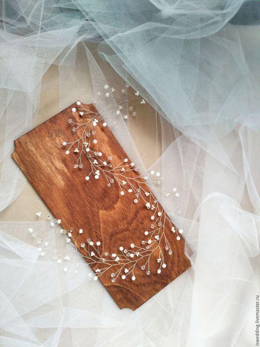Свадебные украшения ручной работы. Ярмарка Мастеров - ручная работа. Купить Свадебное украшение для волос. Handmade. Белый, свадебный венок