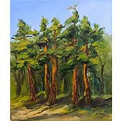 Картины и панно handmade. Livemaster - original item Oil Painting Forest Pine Forest Landscape. Handmade.