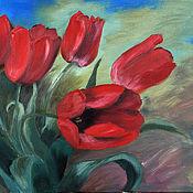 """Картины и панно ручной работы. Ярмарка Мастеров - ручная работа Картина маслом """"Красные тюльпаны"""". Handmade."""