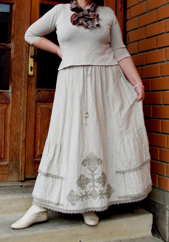 Льняная юбка с вышивкой