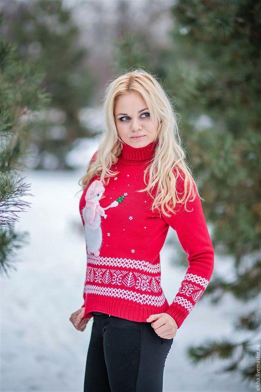 Кофты и свитера ручной работы. Ярмарка Мастеров - ручная работа. Купить Свитерок - Снеговичок - для взрослой Девочки!!!!. Handmade. Ярко-красный
