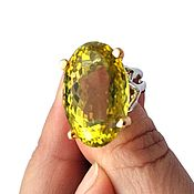 Украшения handmade. Livemaster - original item Large silver ring with citrine, p. .17,5, . Handmade.