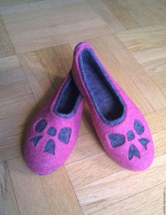 """Обувь ручной работы. Ярмарка Мастеров - ручная работа. Купить Валяные тапочки """"Бантики"""". Handmade. Коралловый, розовый цвет"""