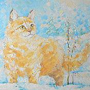 Картины и панно ручной работы. Ярмарка Мастеров - ручная работа Рыжий кот и зима.. Handmade.