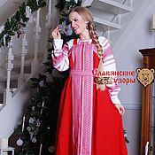 Одежда ручной работы. Ярмарка Мастеров - ручная работа Сарафан косоклинный красный. Handmade.