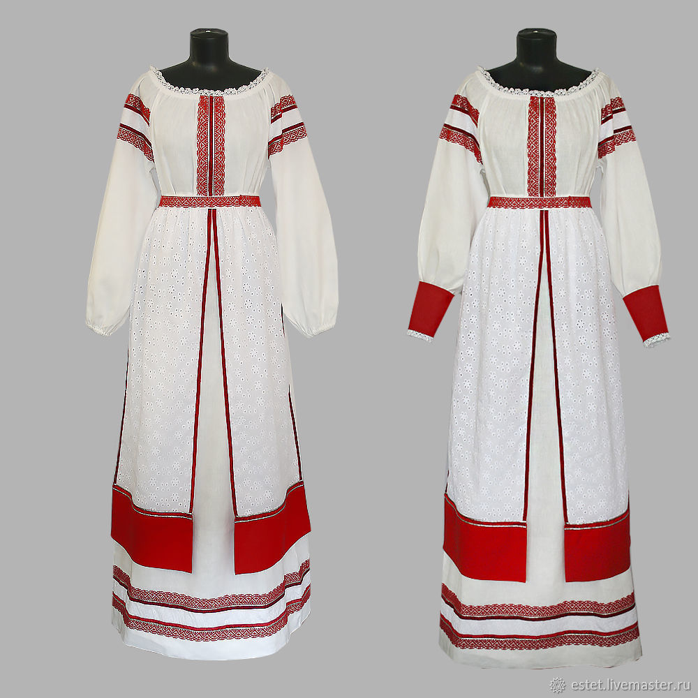 Linen dress with belt and skirt, People\\\'s shirts, Korolev,  Фото №1
