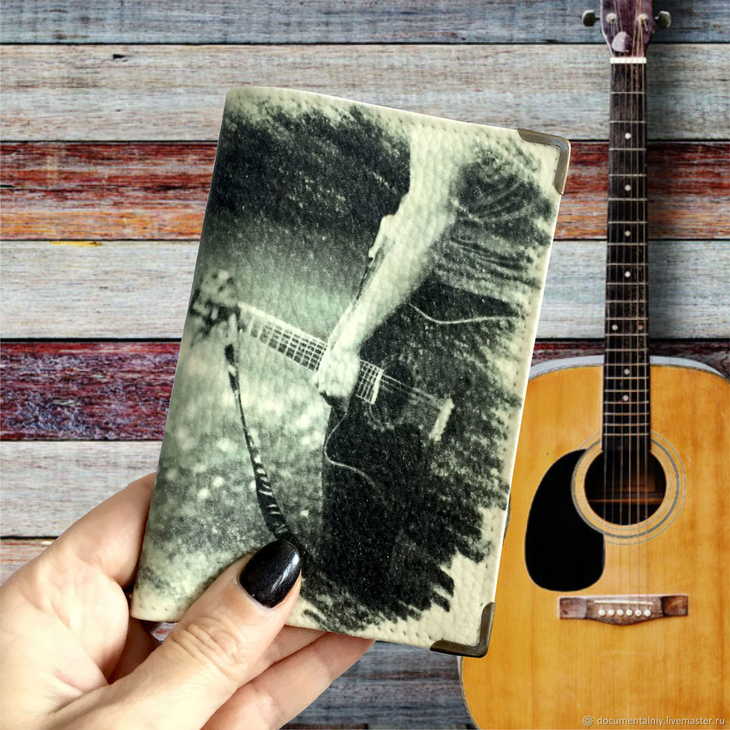 Passport cover, cover (leather) 'Guitarist', Passport cover, Obninsk,  Фото №1