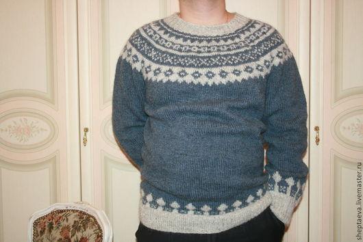 """Для мужчин, ручной работы. Ярмарка Мастеров - ручная работа. Купить """"Аскард"""" скандинавский мужской свитер. Handmade. Синий"""