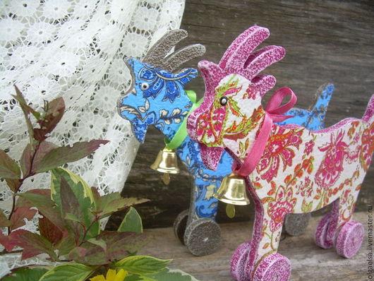 Игрушки животные, ручной работы. Ярмарка Мастеров - ручная работа. Купить Козочки на колесиках. Handmade. Синий, коза на колесах