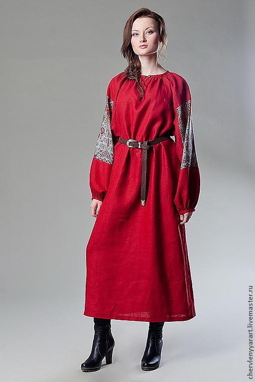 Платья ручной работы. Ярмарка Мастеров - ручная работа. Купить Рубаха павловопосадская красная льняная с прямыми поликами женская. Handmade.