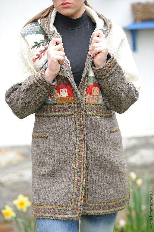 Верхняя одежда ручной работы. Ярмарка Мастеров - ручная работа. Купить Вязаное пальто W7. Handmade. Рисунок, теплое пальто