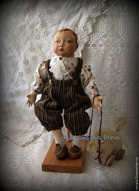 Человечки ручной работы. Ярмарка Мастеров - ручная работа. Купить Кукла Андрюшка с лошадкой.. Handmade. Коричневый, подарок для детей