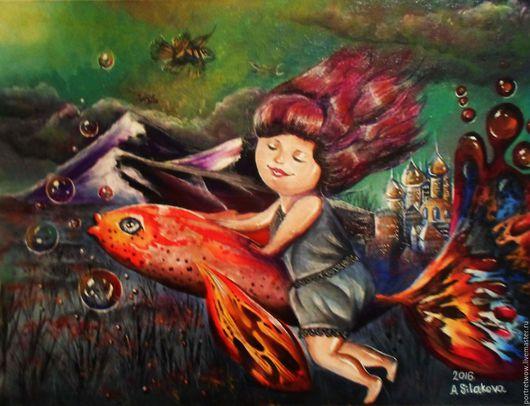 """Фантазийные сюжеты ручной работы. Ярмарка Мастеров - ручная работа. Купить Картина """"Эльза путешественница"""". Handmade. Океан, цвета, рыбка"""