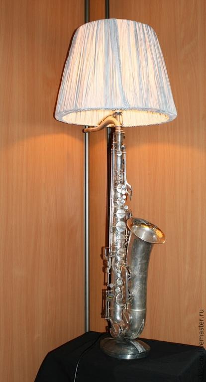 Освещение ручной работы. Ярмарка Мастеров - ручная работа. Купить Лампа саксофон. Handmade. Серебряный