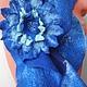 Комплекты аксессуаров ручной работы. Комплект шарф+ брошь  ярко-синие.. Виктория Гайнутдинова (Viktoria-perm). Интернет-магазин Ярмарка Мастеров.