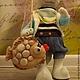 Игрушки животные, ручной работы. Текстильный кот-рыбак ручной работы. Юлия Соколова. Ярмарка Мастеров. Авторская игрушка