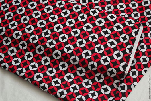 Шитье ручной работы. Ярмарка Мастеров - ручная работа. Купить Ткань хлопок Круги ( красно-черные). Handmade.
