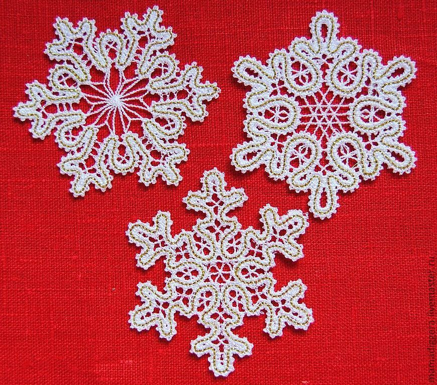 Set of snowflakes under a Vologda lace, 3 pieces, Christmas gifts, Moscow,  Фото №1