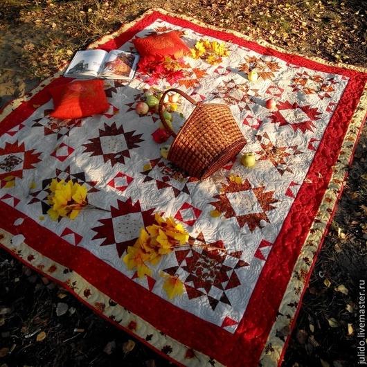 """Текстиль, ковры ручной работы. Ярмарка Мастеров - ручная работа. Купить Лоскутное одеяло """"Узоры"""". Handmade. Оранжевый, лоскутный плед"""
