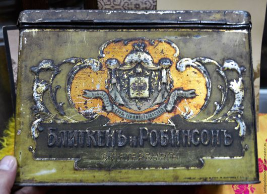 Винтажные предметы интерьера. Ярмарка Мастеров - ручная работа. Купить Жестяная коробка из под печенья или пряников до 1917 года. Handmade.