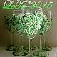 """Бокалы, стаканы ручной работы. Ярмарка Мастеров - ручная работа. Купить Набор бокалов """"Узелки"""". Handmade. Зеленый, акриловые краски"""