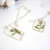 Украшения handmade. Livemaster - original item Transparent Pendant with Wild Flowers Botany Eco resin Decoration. Handmade.