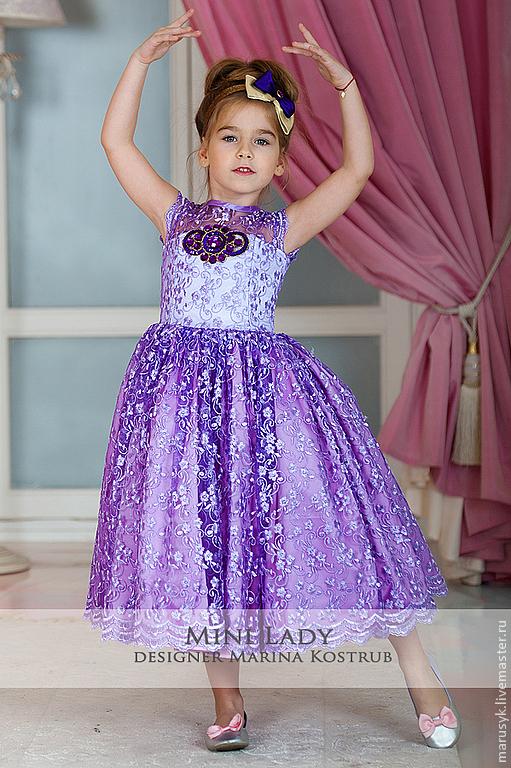 Одежда для девочек, ручной работы. Ярмарка Мастеров - ручная работа. Купить Платье Кружевница-2. Handmade. Сиреневый, платье для выпускного