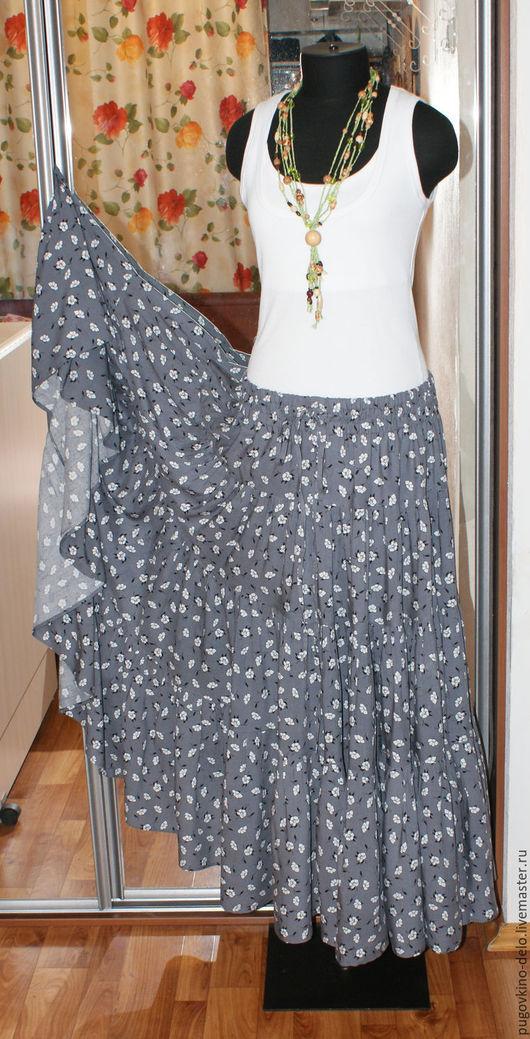 Юбки ручной работы. Ярмарка Мастеров - ручная работа. Купить Ярусная юбка из штапеля (цветы на сером). Handmade. Серый