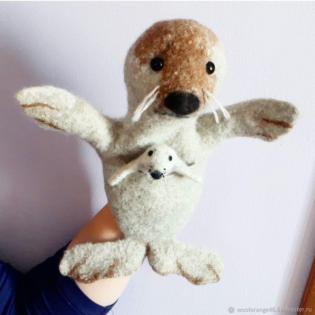 Тюлень с детенышем. Игрушка бибабо, Вальдорфские куклы и звери, Курск,  Фото №1