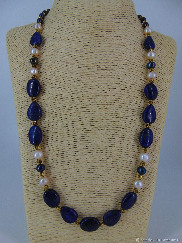 Pearl beads with lapis lazuli 'Elegy', Necklace, Velikiy Novgorod,  Фото №1