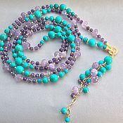 Украшения handmade. Livemaster - original item Necklace with pendant BRIGHT ACCENTS of amethyst and turquoise. Handmade.