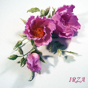 Flowers and floristry handmade. Livemaster - original item Comb Pink rose hips made of natural silk.. Handmade.