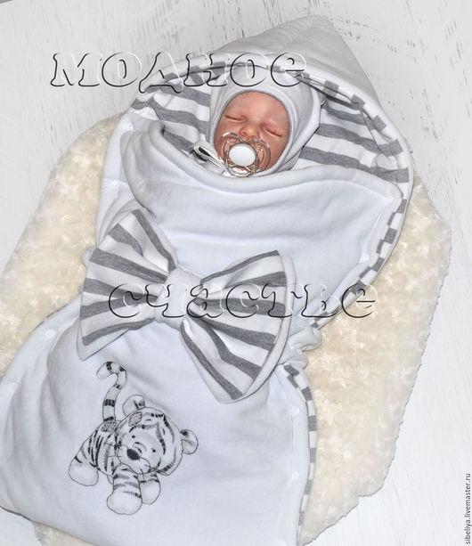 """Для новорожденных, ручной работы. Ярмарка Мастеров - ручная работа. Купить Комплект на выписку и для прогулок """"Котенок"""". Handmade. Белый"""