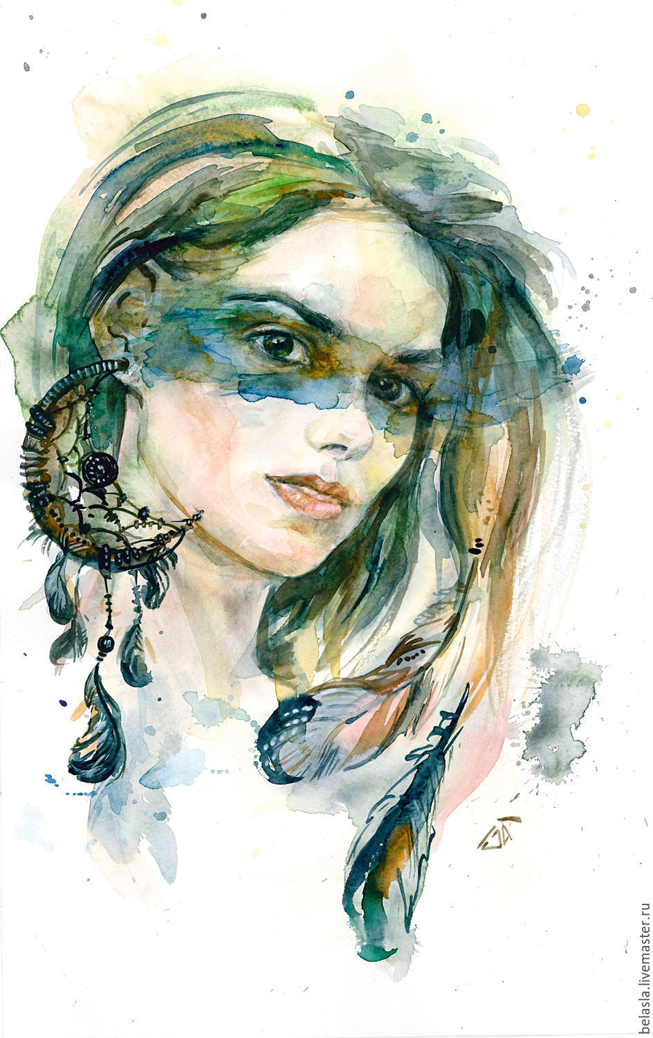 Portraits handmade. Livemaster - handmade. Buy watercolor Portrait by the author.Green, pastel, a wedding gift