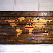 """Для дома и интерьера ручной работы. Ярмарка Мастеров - ручная работа """"Карта мира"""" декор на стену. Handmade."""