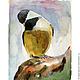 Животные ручной работы. Ярмарка Мастеров - ручная работа. Купить Картина акварелью Птица-синица. Handmade. Желтый, птица, акварель