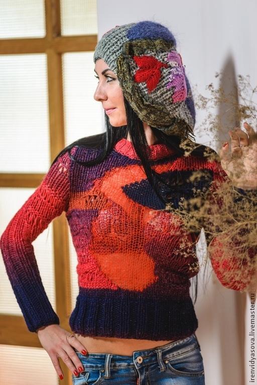 """Кофты и свитера ручной работы. Ярмарка Мастеров - ручная работа. Купить Свитер""""Вулкан"""". Handmade. Бордовый, шикарный подарок, кид-мохер"""