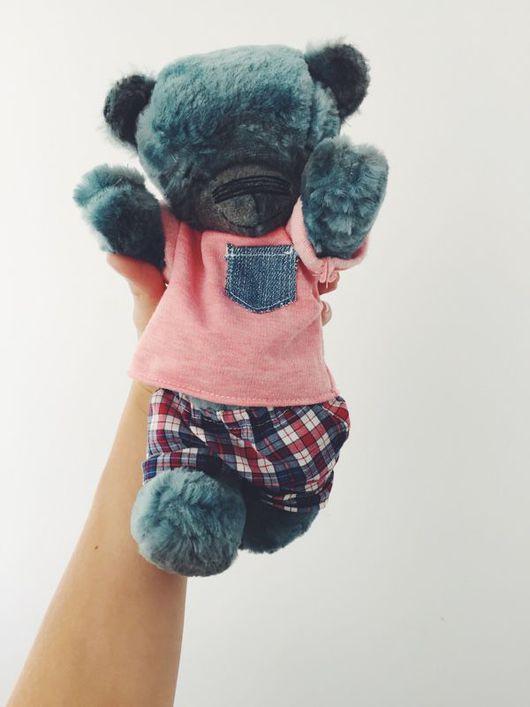 Мишки Тедди ручной работы. Ярмарка Мастеров - ручная работа. Купить Авторский медведь Смурф. Handmade. Тёмно-синий, бирюза