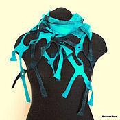 Аксессуары ручной работы. Ярмарка Мастеров - ручная работа Морская волна Нуно-войлочный шарфик-сетка. Handmade.