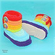 Работы для детей, handmade. Livemaster - original item Boots plush baby for the streets of pompon yarn rainbow. Handmade.
