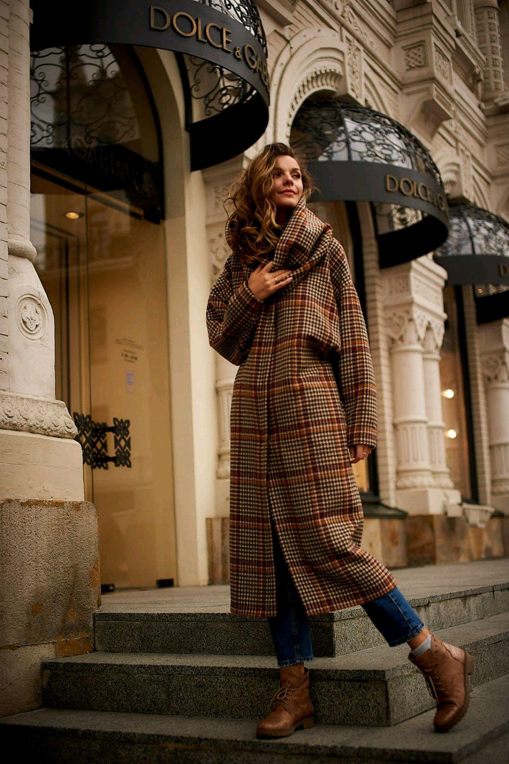 Oversize coat ' Stylish cage', Coats, Moscow,  Фото №1